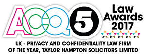 ACQ5 Law Awards 2017 - UK Privacy and Confidetiality Law Firm of the Year, Taylor Hampton Solicitors