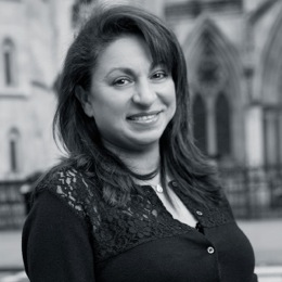 This is a black and white photograph of Valerie Shaul lawyer with Taylor Hampton Solicitors