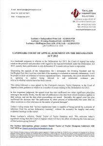 Defamation Act 2013