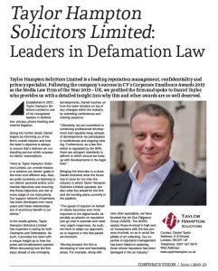 award winning law firm Media Awards defamation