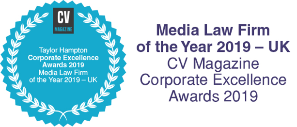 CV Magazine Corporate Excellence Awards 2019 - Taylor Hampton - Media Law Firm of the Year - UK