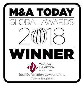 M&A Today Global Awards 2018 Winner - Taylor Hampton Solicitors - Best Defamation Lawyer of the Year - England