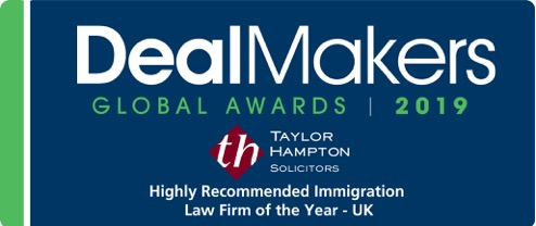 This is a logo award stamp Deal Maker Global Awards 2019 - Taylor Hampton Highly Recommended Immigration Law Firm of the Year - UK